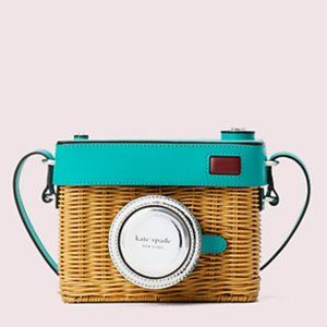 Authentic Kate Spade Rose Camera Wicker Bag NEW